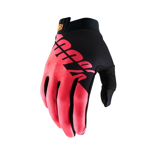 GUANTI 100% ITRACK BLACK FLUO RED S