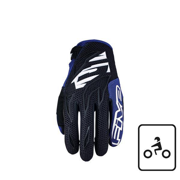 GUANTI MOTO CROSS ENDURO TRIAL OFFROAD MTB FIVE MXF3 BLACK WHITE BLUE (L)
