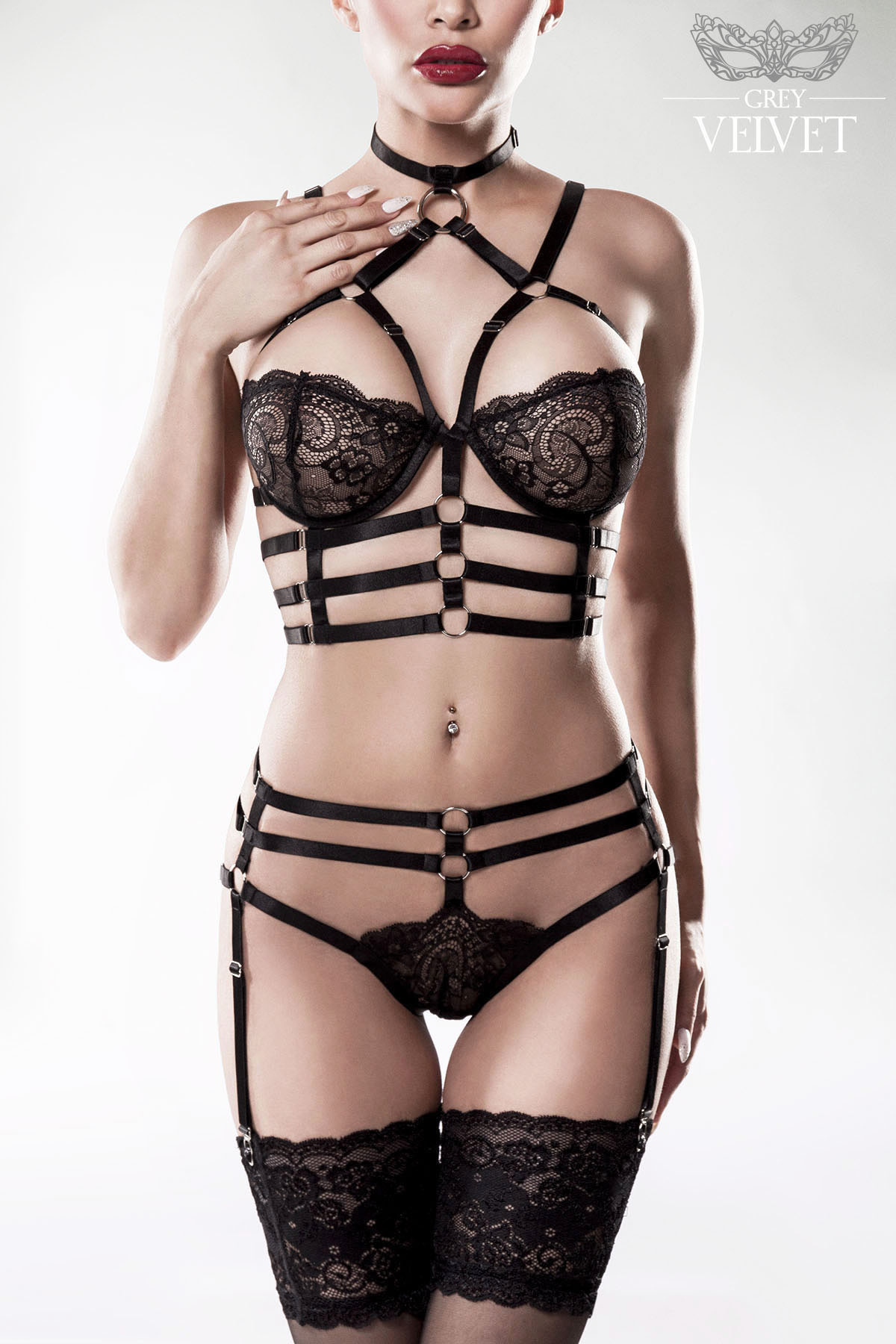 2-piece harness set by Grey Velvet lace: 92% polyamide, 8% elastane, bands: 75% polyamide, 25% elatane bra, panty