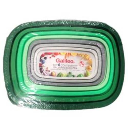 Galileo Set 6 Contenitori Rettangolari Con Coperchio Verde