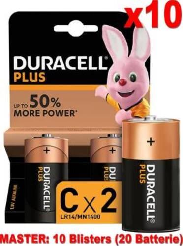 Duracell Plus Batterie Mezza Torcia LR14 MN1400 C Alcaline 20pz