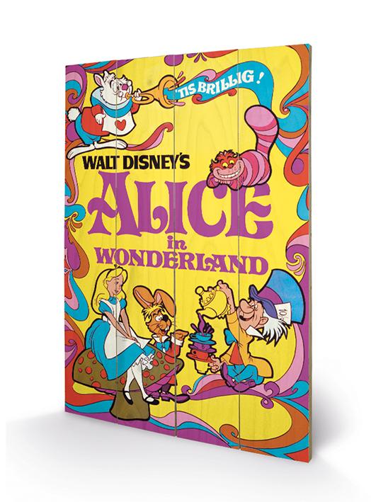 Merchandising Alice In Wonderland - 1974 (Stampa Su Legno 59X40Cm) NUOVO SIGILLATO, EDIZIONE DEL 18/07/2014 SUBITO DISPONIBILE