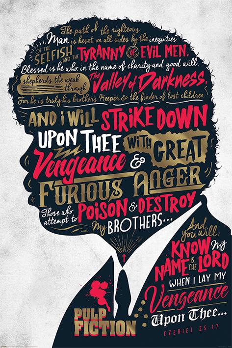 Merchandising Pulp Fiction: Ezekiel 25:17 (Poster 61X91,5 Cm) NUOVO SIGILLATO, EDIZIONE DEL 06/09/2017 DISPO ENTRO UN MESE, SU ORDINAZIONE