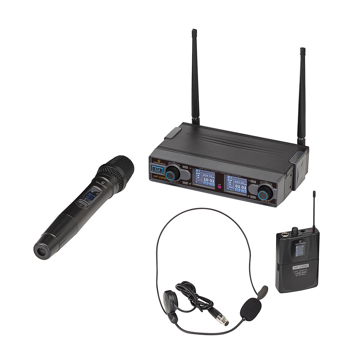 RADIOMIC. DIGITALE DOPPIO UHF SOUNDSATION WF-D290HP 1TX MANO + 1TASC.&HEADSET 823-832MHz