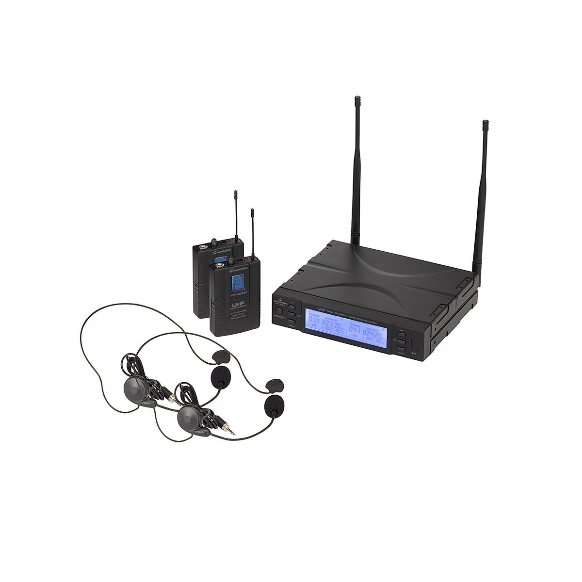 RADIOMIC. TRUE DIVERSITY UHF DOPPIO SOUNDSATION WF-U2300PP 2 TX TASC+HEADSET 823-832MHz