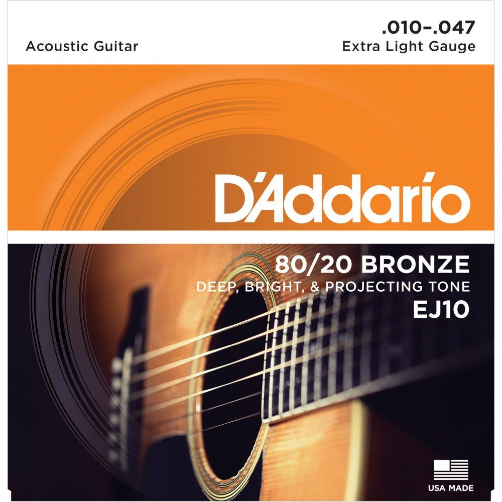 D'ADDARIO EJ10 - CORDE PER CHITARRA ACUSTICA  (SCALATURA 10-47)